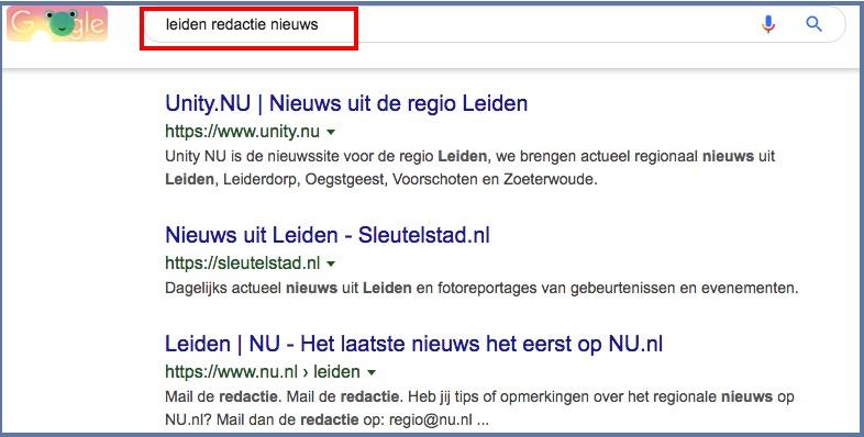 persbericht in Google
