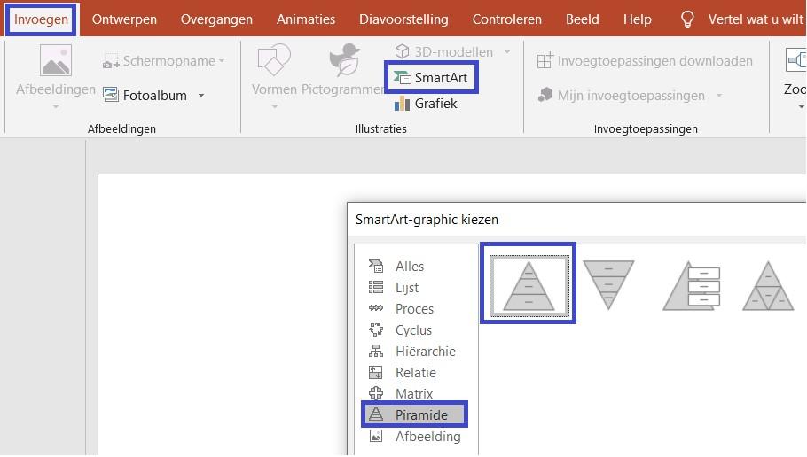 piramide in Powerpoint maken